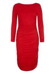 Hotsquash Ruched Dress In Unique Thinheat Fabric Red
