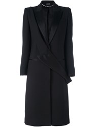 Alexander Mcqueen Lapel Applique Coat Black