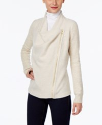 Inc International Concepts Draped Faux Leather Trim Cardigan Only At Macy's Heather Sandune