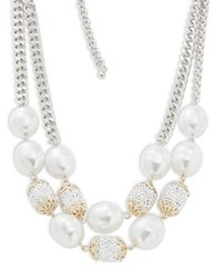 Kenneth Jay Lane Layered Crystal And Faux Pearl Necklace Two Tone