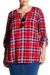 Daniel Rainn Roll Sleeve Plaid Blouse Plus Size Red