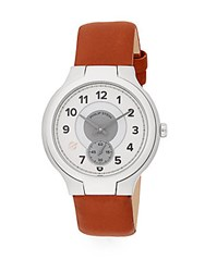 Philip Stein Teslar Round Chronograph Stainless Steel And Leather Watch Light Brown