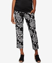 A Pea In The Pod Maternity Printed Ankle Pants Blk Wht Floral