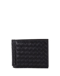 Bottega Veneta Basic Woven Bi Fold Clip Wallet Black
