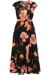 Reformation Floral Print Georgette Wrap Dress Black