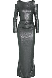 Donna Karan Cutout Sequined Stretch Jersey Gown Gray