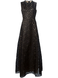 N.21 Embroidered Lace Evening Dress Black