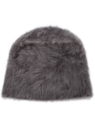 Reinhard Plank Rabbit Fur Beanie Hat Grey