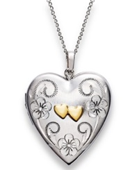 Macy's Sterling Silver And 14K Gold Necklace Heart Locket Pendant