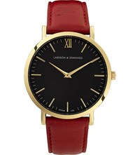 Larsson And Jennings Lader Red Gold Plated Leather Watch