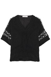 Iro Brynn Cutout Embroidered Voile Top Black