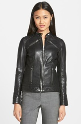 Lamarque Stitch Detail Lambskin Leather Jacket Online Only Black