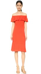 Veronica Beard Oleta Off Shoulder Dress Red