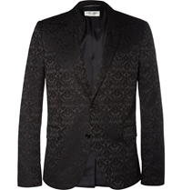 Saint Laurent Black Brocade Cotton Blend Blazer