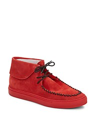 Del Toro Suede Moccasins Red
