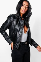 Boohoo Lois Zip Detail Leather Jacket Black