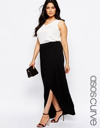 Asos Curve Wrap Maxi Skirt In Jersey Black