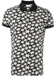 Saint Laurent Star Print Polo Shirt Black