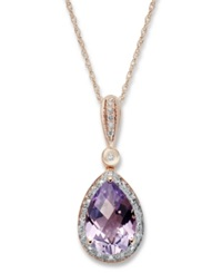 Macy's 14K Rose Gold Necklace Amethyst 2 3 4 Ct. T.W. And Diamond Accent Pear Pendant