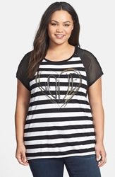7 For All Mankind 'Love' Stripe High Low Top Plus Size White Black