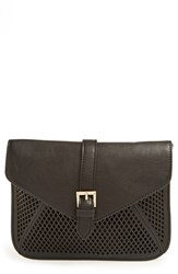Big Buddha Perforated Faux Leather Crossbody Bag Black