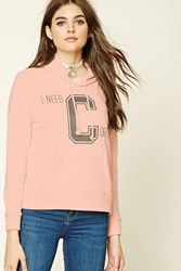 Forever 21 Fleece Knit Graphic Pj Hoodie Pink Grey