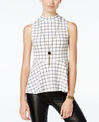 Amy Byer Bcx Juniors' Printed Necklace Peplum Top Black White Multi