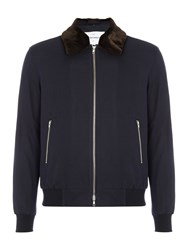 Peter Werth Men's Line Up Jacket With Faux Fur Trim Navy