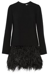 Elizabeth And James Serena Feather Trimmed Cady Mini Dress