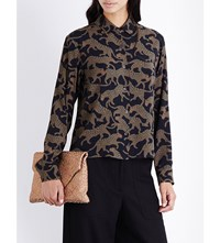 Dries Van Noten Cakung Cheetah Print Crepe Shirt Green