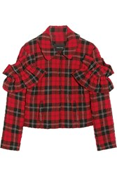 Simone Rocha Ruffled Tartan Seersucker Jacket Red