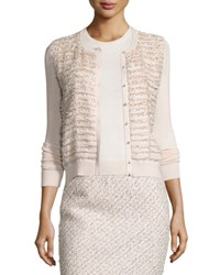 Oscar De La Renta Tiered Sequin Knit Cardigan Light Pink