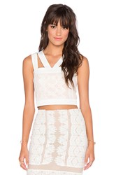Endless Rose Lace Overlay Crop Top White