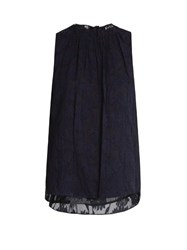 Rebecca Taylor Fil Coupe Sleeveless Top Navy