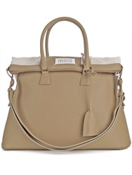 Maison Martin Margiela 5Ac Grained Leather Tote Beige