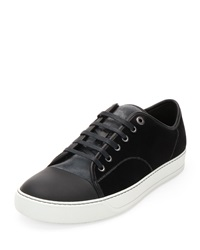 Lanvin Velvet Captoe Low Top Shoe Gray