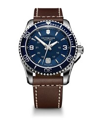 Victorinox Maverick Stainless Steel Blue Dial And Brown Leather Strap Watch