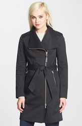 Women's Mackage Leather Trim Asymmetrical Zip Trench Coat Black