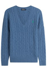 Polo Ralph Lauren Cable Knit Wool Pullover With Cashmere Blue