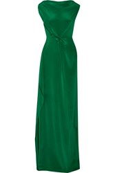 Roland Mouret Goodard Gathered Silk Crepe De Chine Gown Forest Green