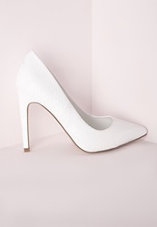Missguided Pointed Stiletto Court Shoes White Croc White