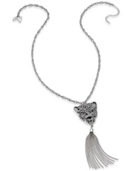 Thalia Sodi Silver Tone Animal Head Tassel Pendant Necklace Only At Macy's