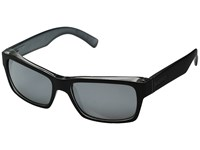 Von Zipper Fulton Black Steel Silver Grey Chrome Plastic Frame Sport Sunglasses Gray