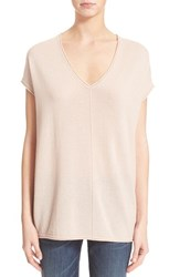 Women's Vince Short Sleeve V Neck Cashmere Tee New Buff