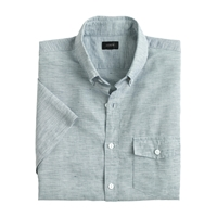 J.Crew Slim Short Sleeve Shirt In End On End Cotton Linen Oxford Royal
