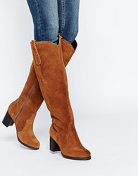 New Look Wide Fit Western Knee High Boot Tan