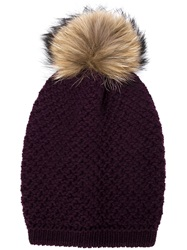 Inverni Racoon Fur Pompom Beanie Pink And Purple