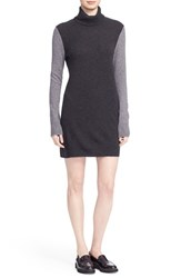Equipment Women's 'Oscar' Colorblock Cashmere Turtleneck Minidress Charcoal Heather Grey Grey