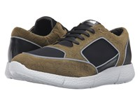 Just Cavalli Small Python Printed Nubuck And Neoprene Sneakers Military Olive