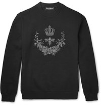 Dolce And Gabbana Embroidered Cotton Blend Jersey Sweatshirt Black